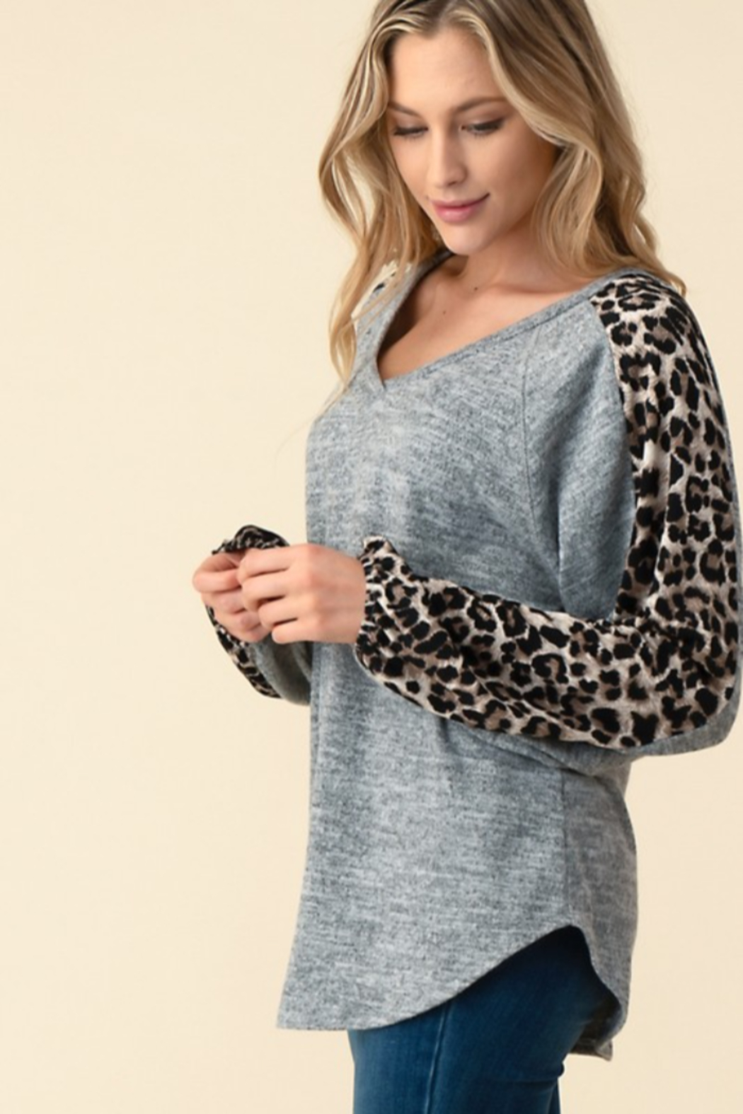 follow me  Leopard Long Sleeve Top - Front Full Image