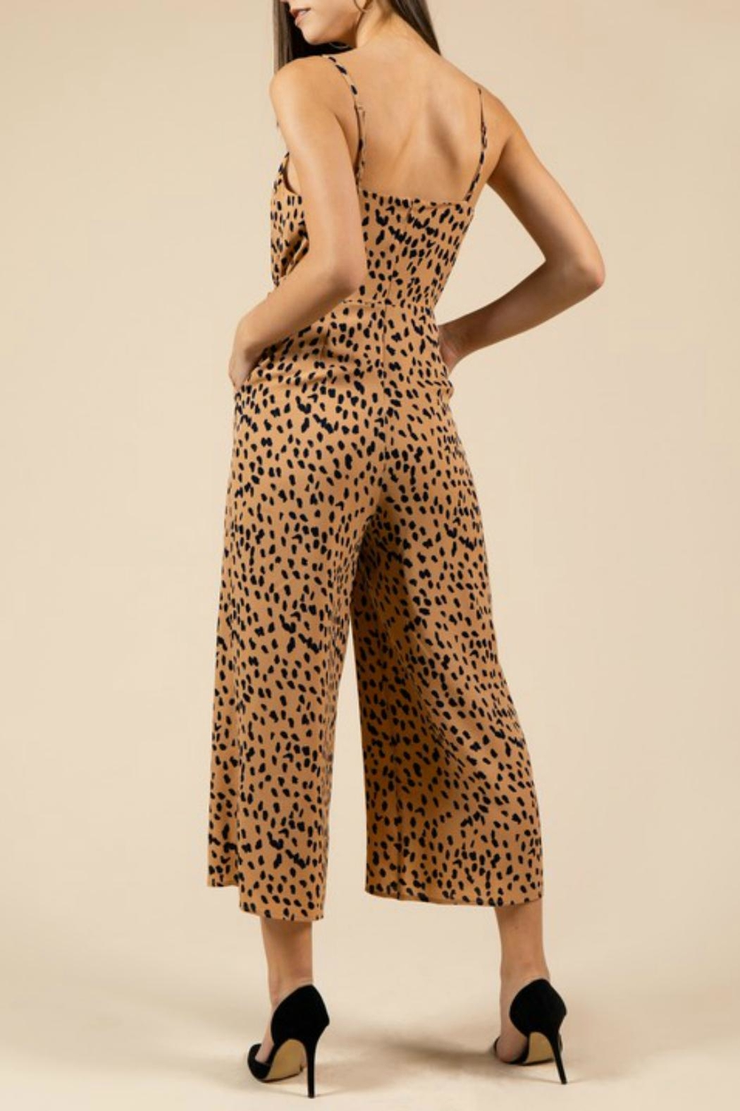 Pretty Little Things Leopard Midi Jumpsuit - Front Full Image