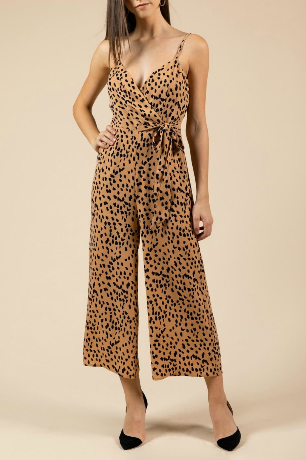 Pretty Little Things Leopard Midi Jumpsuit - Front Cropped Image