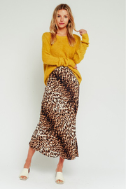 Olivaceous  Leopard Midi Skirt - Front cropped