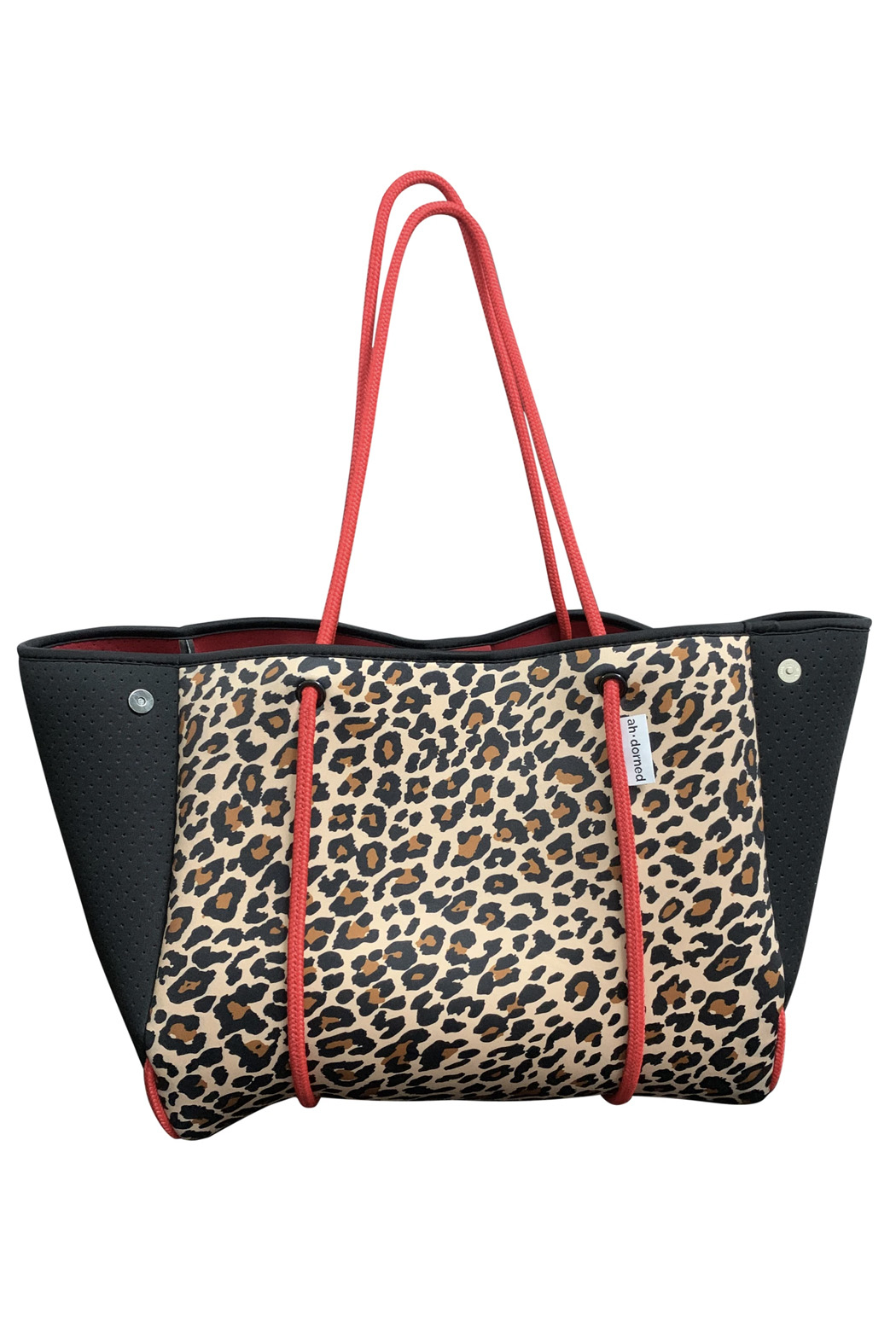 Ahdorned Leopard Neoprene Bag w/Black Perforated Sides & Red Straps - Main Image