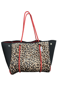 Ahdorned Leopard Neoprene Bag w/Black Perforated Sides & Red Straps - Product List Image