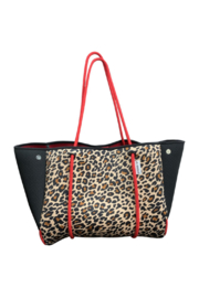 Ah!dorned LEOPARD NEOPRENE BAG W/BLACK PERFORATED SIDES & RED STRAPS - Product Mini Image