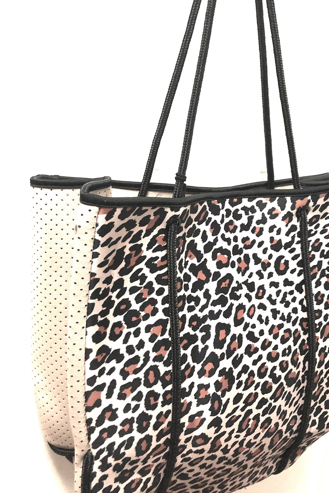 Ah!dorned Leopard Neoprene Bag W/ Camel Perforated Sides - Front Full Image