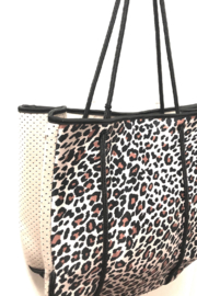 Ah!dorned Leopard Neoprene Bag W/ Camel Perforated Sides - Front full body