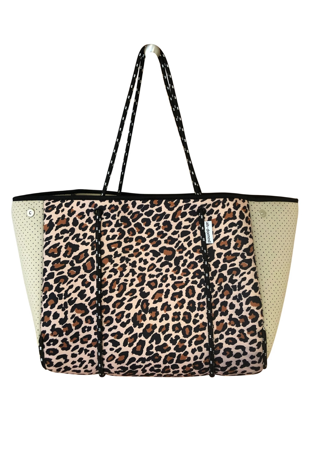 Ah!dorned Leopard Neoprene Bag W/ Camel Perforated Sides - Front Cropped Image