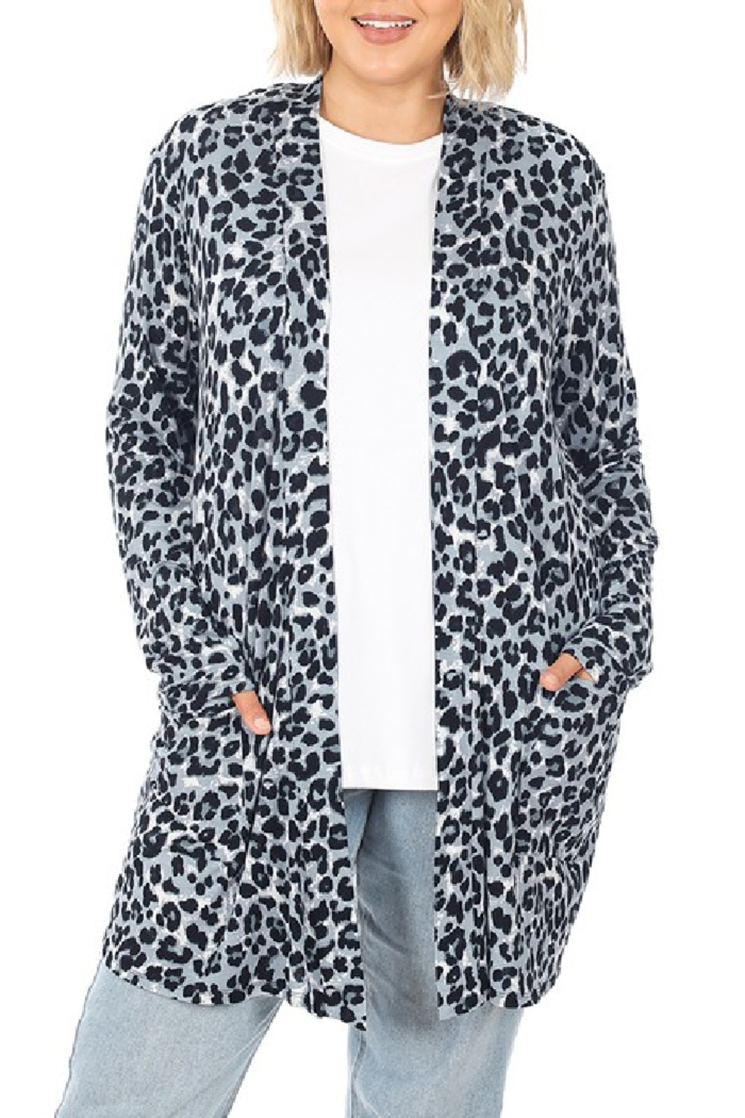 Zenana Leopard Open Cardigan - Front Cropped Image