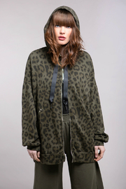 Baci Leopard Oversize Zip Up Hoody - Product Mini Image