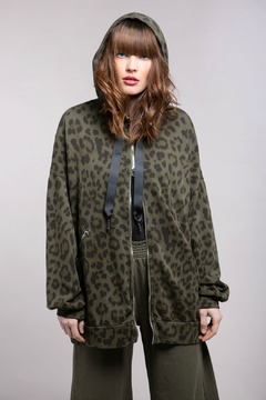 Baci Leopard Oversize Zip Up Hoody - Alternate List Image