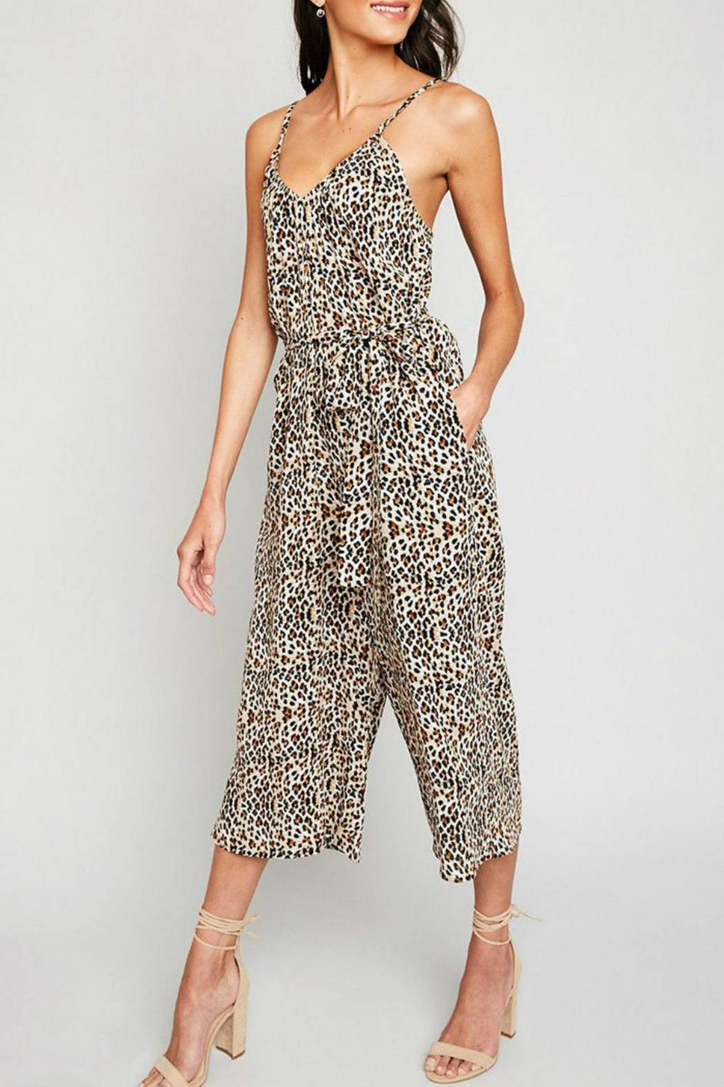 Hayden Los Angeles Leopard Palazzo Jumpsuit - Front Cropped Image