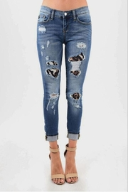 Judy Blue Leopard Patch Skinny Jeans - Product Mini Image
