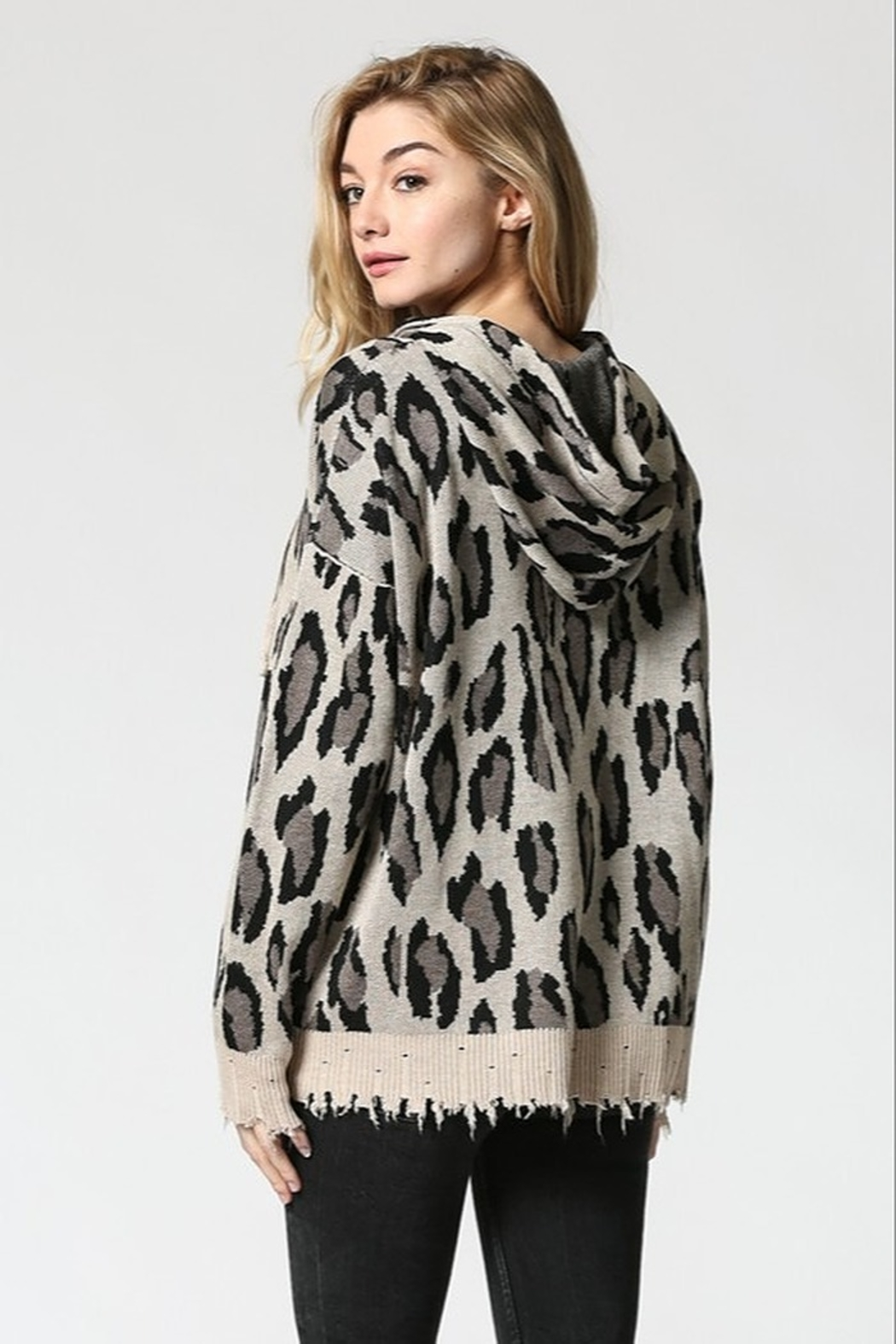 FATE by LFD Leopard patterened hoodie sweater - Front Full Image