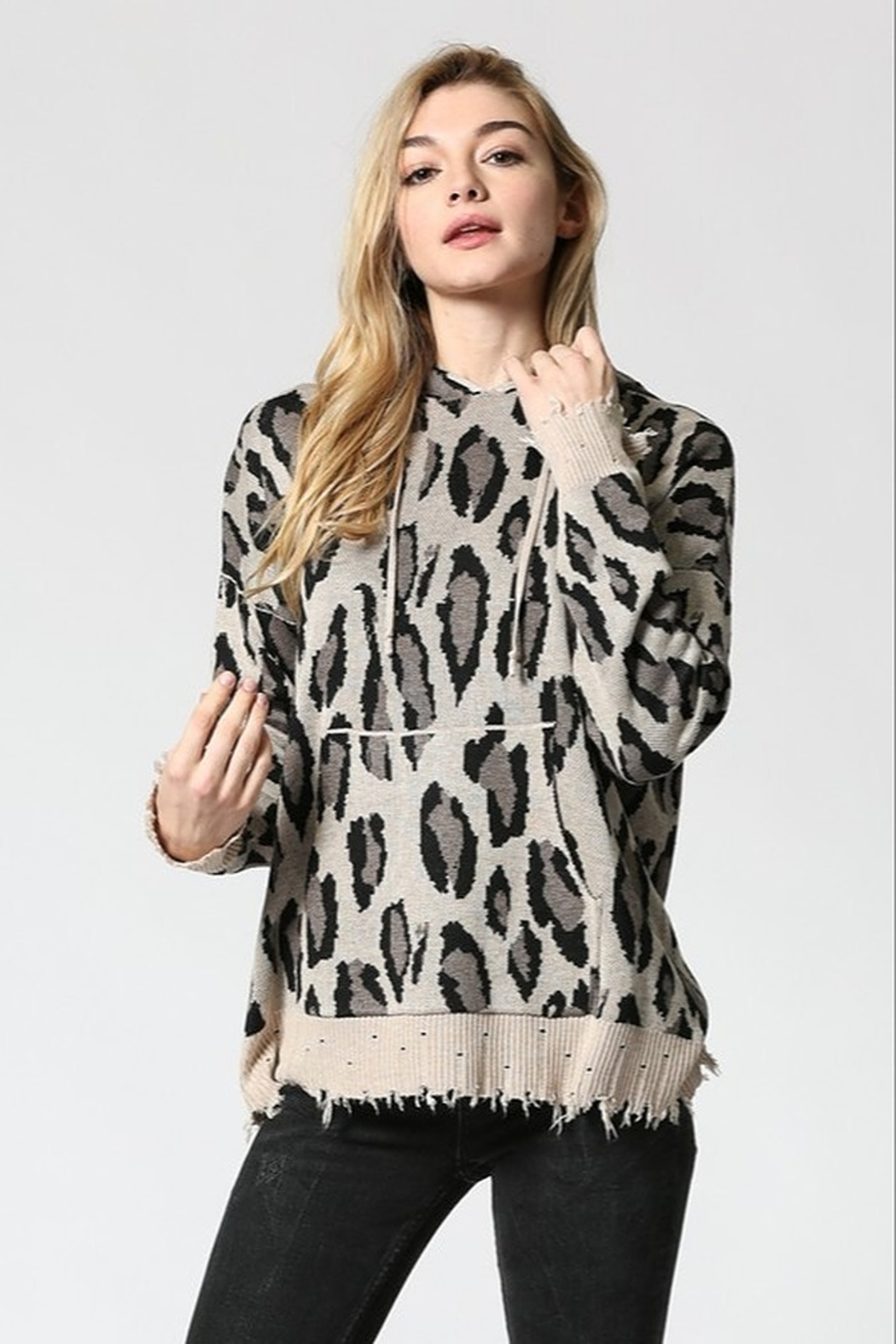 FATE by LFD Leopard patterened hoodie sweater - Side Cropped Image