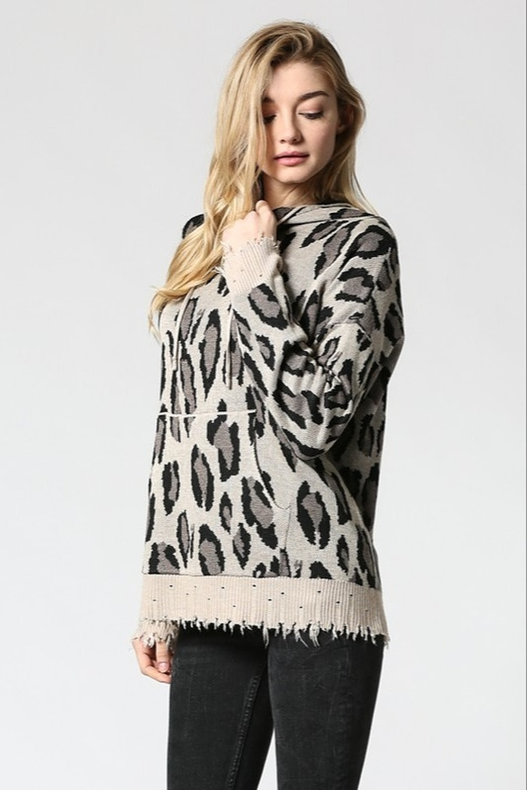 FATE by LFD Leopard patterened hoodie sweater - Main Image