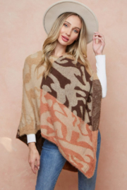On Blue Leopard Pattern Color Block Poncho - Product Mini Image
