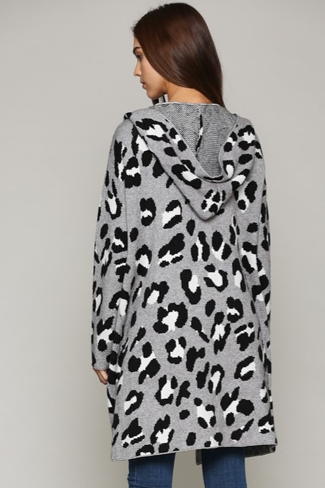 Fate Leopard Patterned Hooded Cardigann - Front Full Image