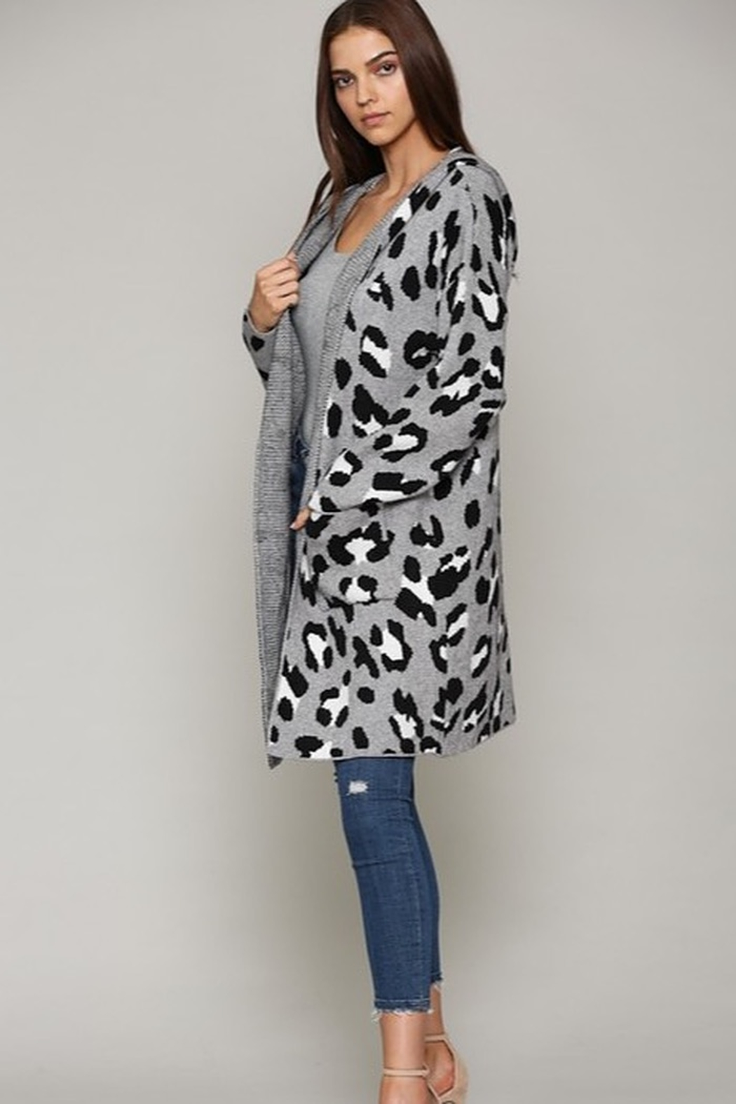 Fate Leopard Patterned Hooded Cardigann - Side Cropped Image