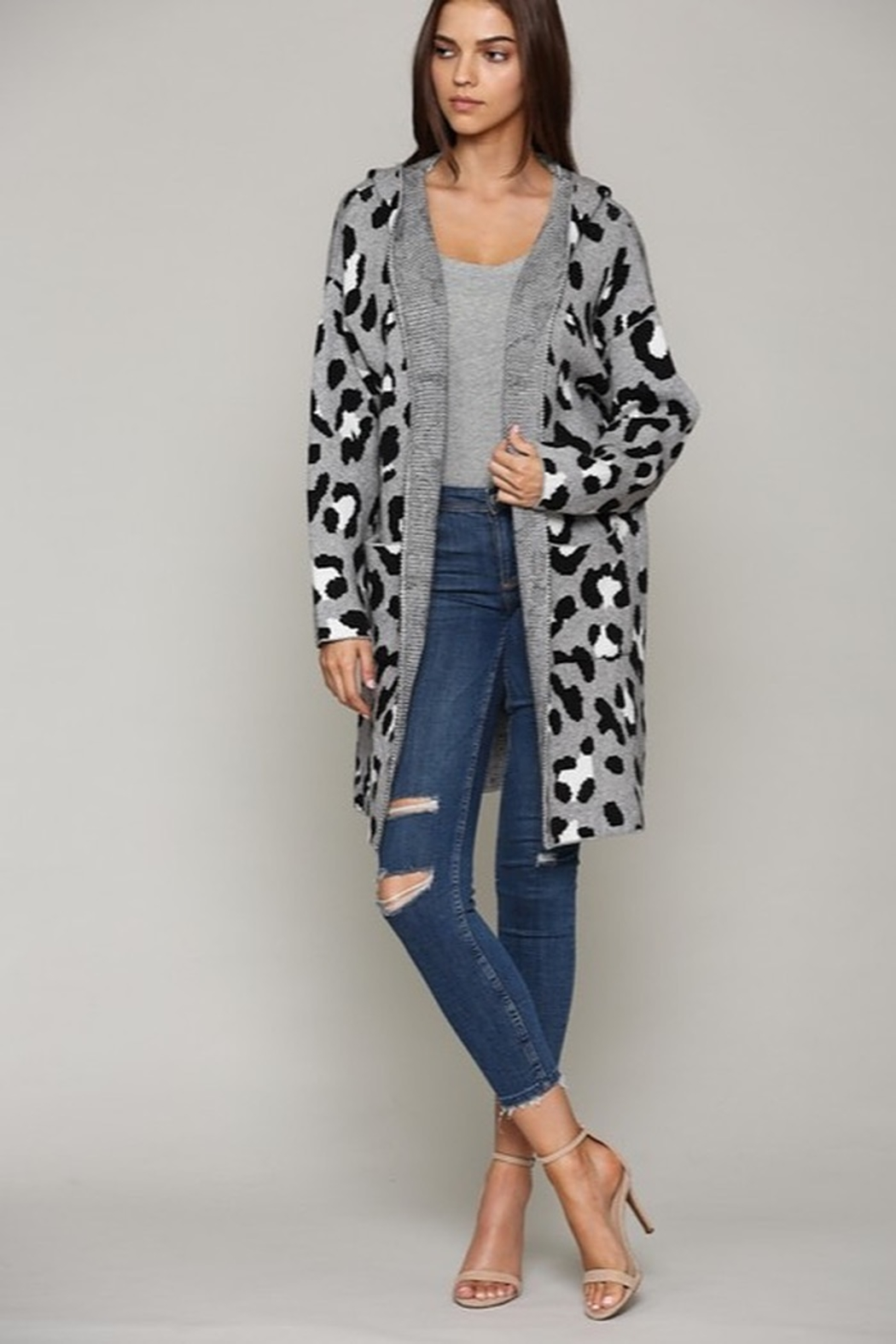 Fate Leopard Patterned Hooded Cardigann - Main Image