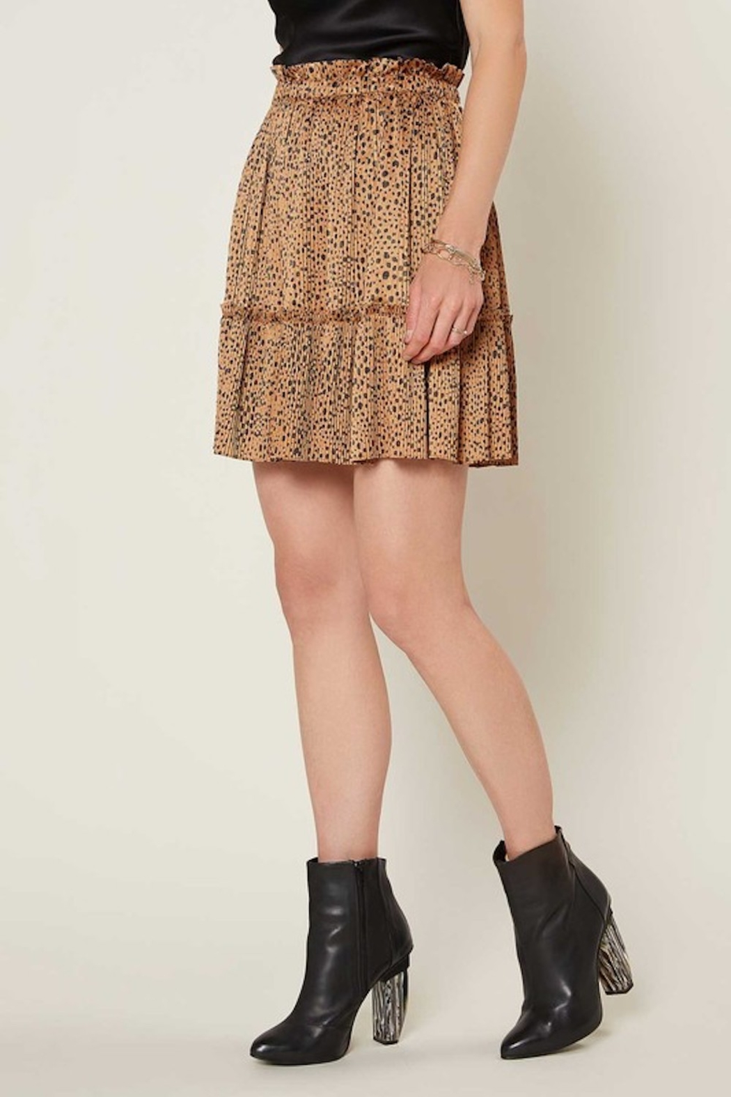 Current Air  Leopard Pleated Mini Skirt - Front Full Image