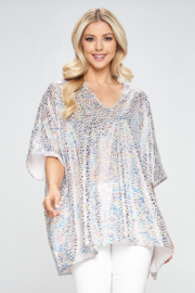 Adrienne Leopard Poncho Tunic - Front cropped