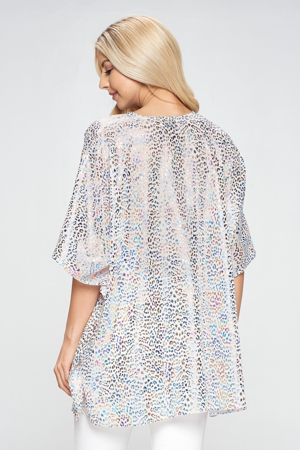 Adrienne Leopard Poncho Tunic - Front Full Image