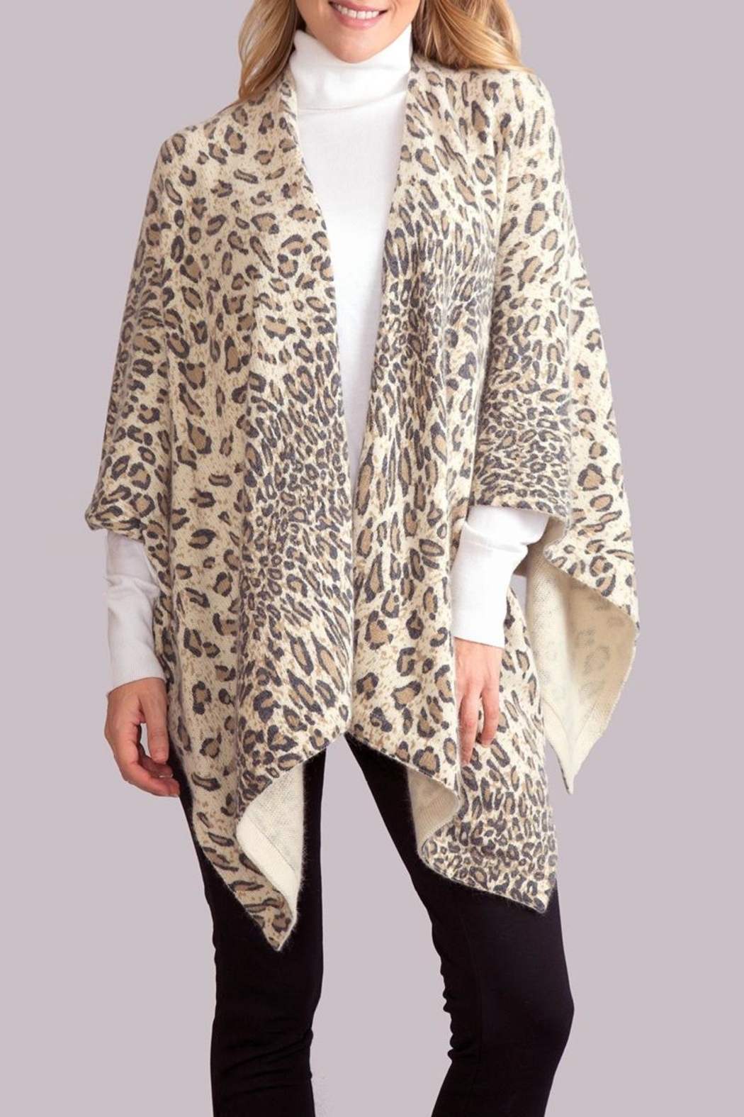 Simply Noelle Leopard Poncho Wrap - Main Image