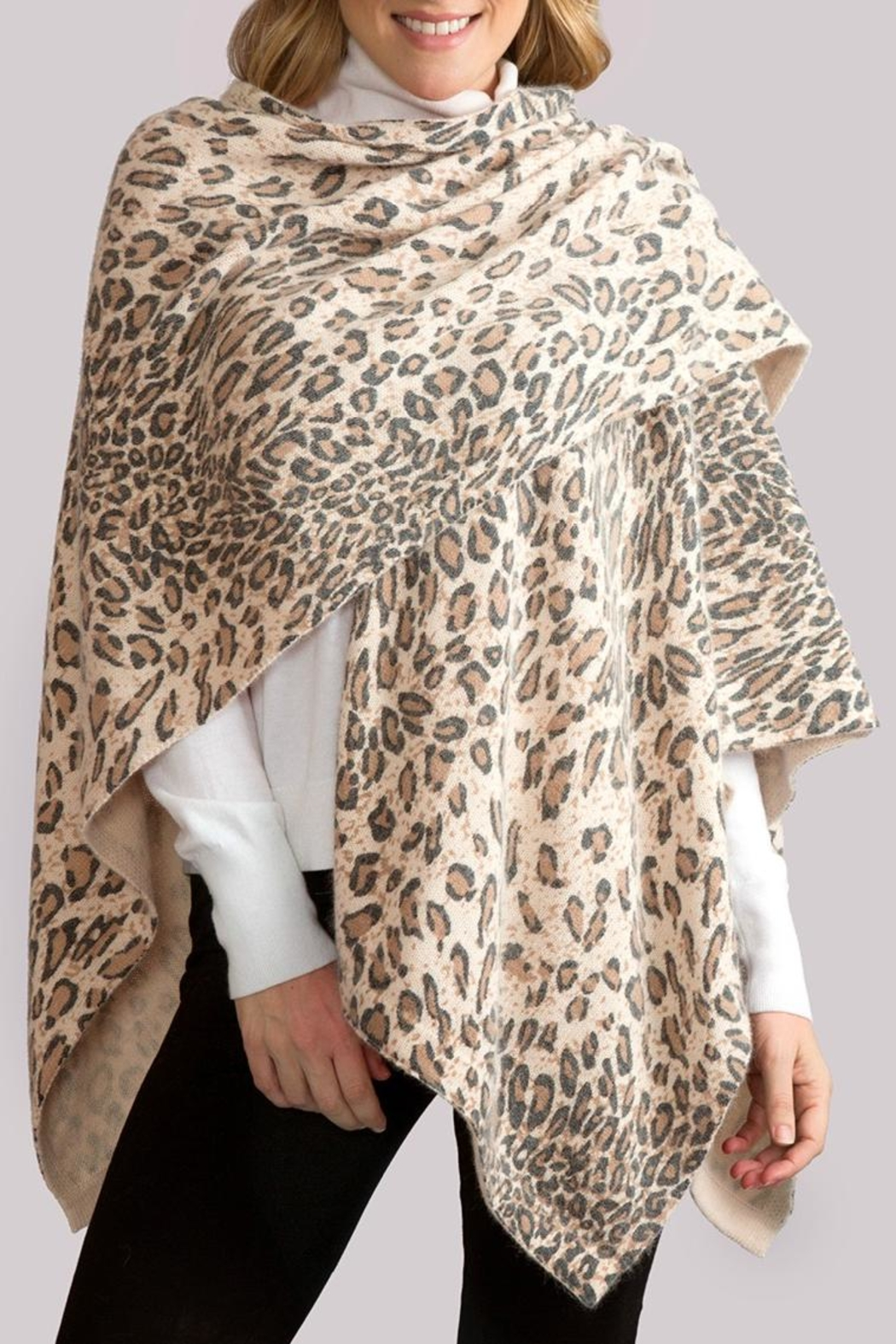 Simply Noelle Leopard Poncho Wrap - Front Full Image