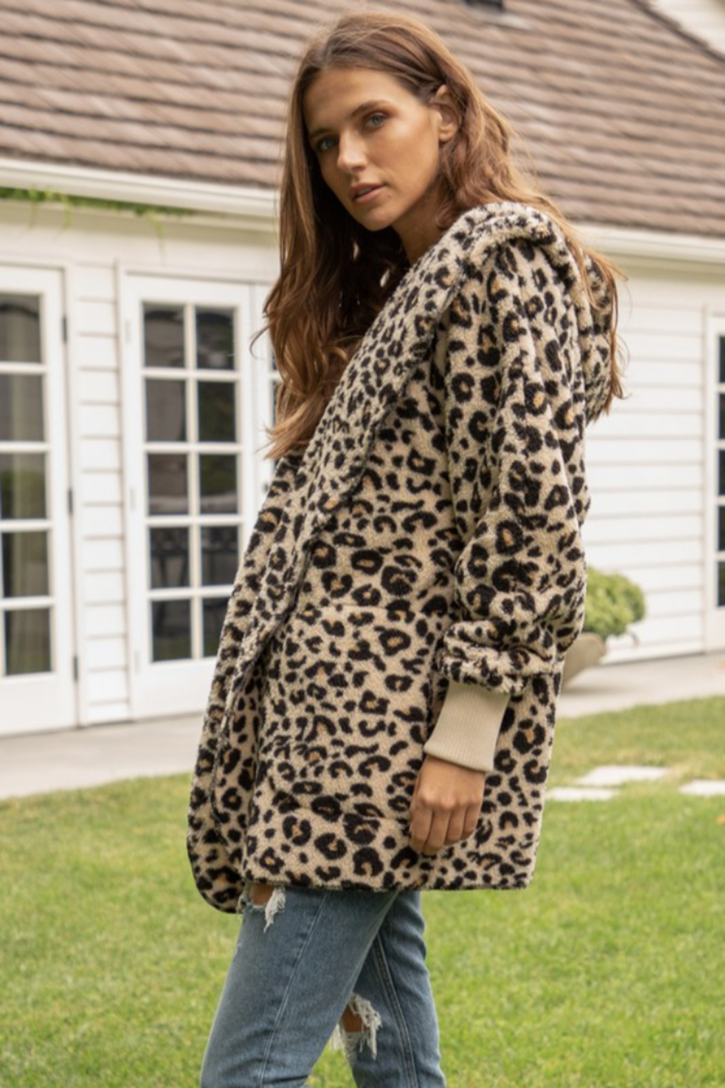 Hem & Thread Leopard Print Bear Coat - Side Cropped Image