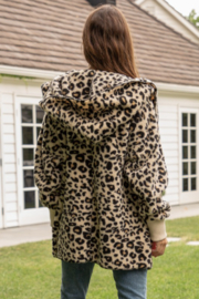 Hem & Thread Leopard Print Bear Coat - Front full body