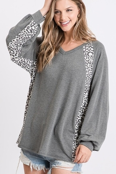 First Love Leopard Print Block Top - Product List Image