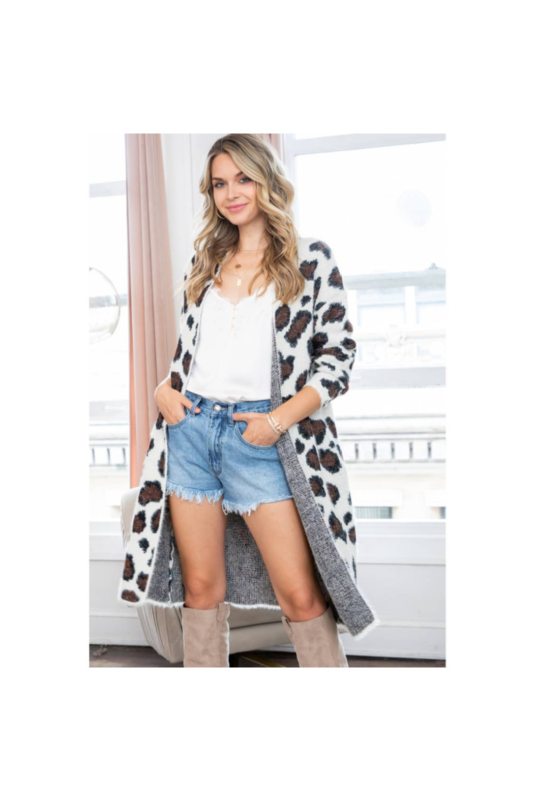 The Birds Nest LEOPARD PRINT CARDIGAN - Front Cropped Image