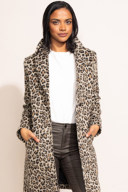 Pink Martini Leopard Print Coat - Front cropped