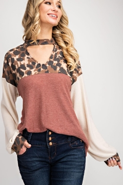 143 Story Leopard Print Color Block Brushed Hacci Top - Product List Image
