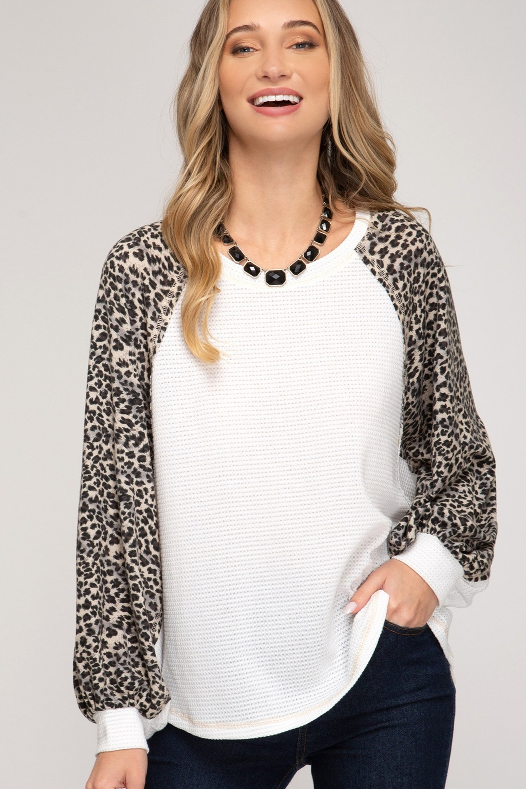 She and Sky Leopard Print Contrast Sleeve Top - Main Image