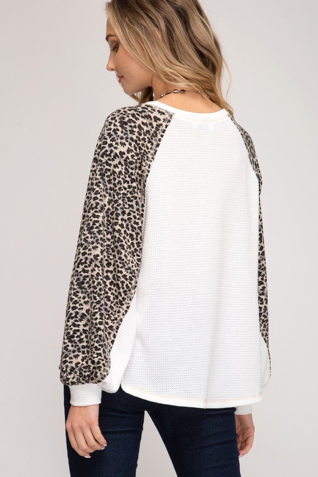 She and Sky Leopard Print Contrast Sleeve Top - Front Full Image