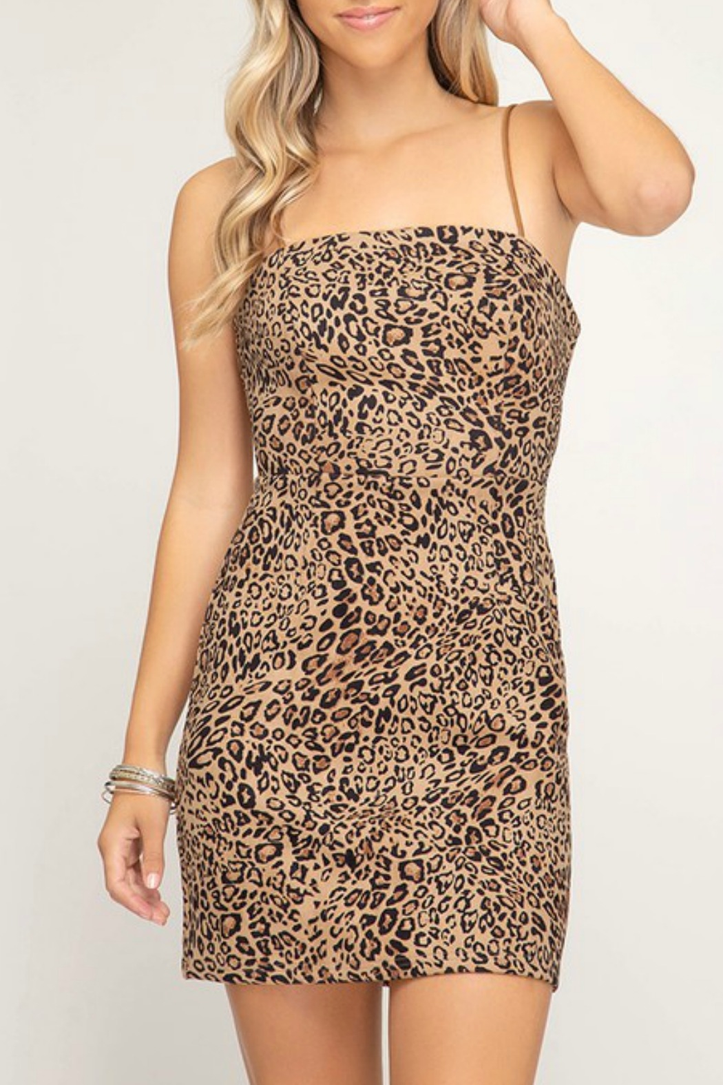She + Sky Leopard Print Dress - Main Image
