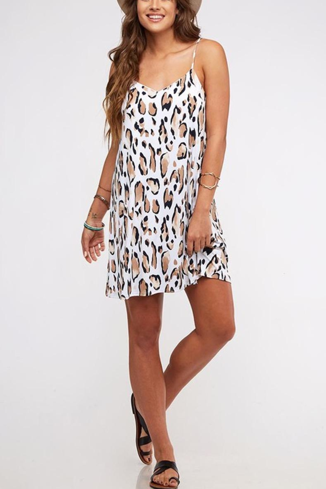 Peach Love California Leopard Print Dress - Front Cropped Image