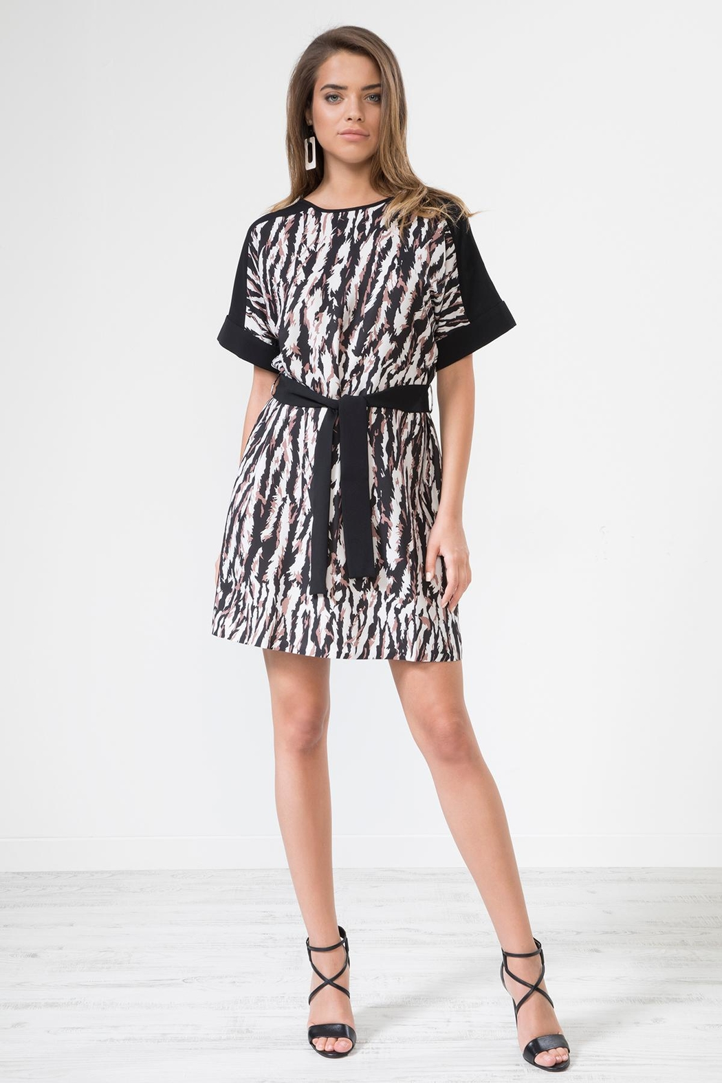 Urban Touch Leopard Print Dresswithbelt - Front Full Image