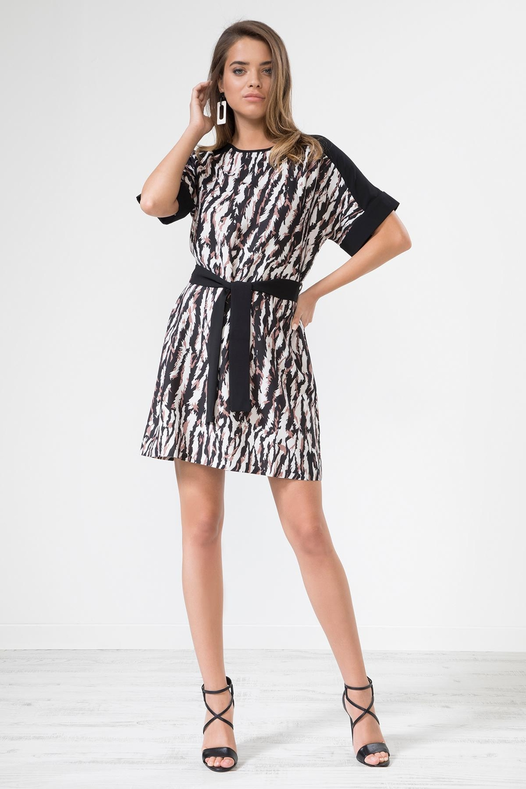 Urban Touch Leopard Print Dresswithbelt - Front Cropped Image
