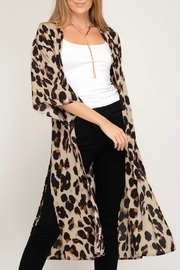 She + Sky Leopard Print Duster - Product Mini Image