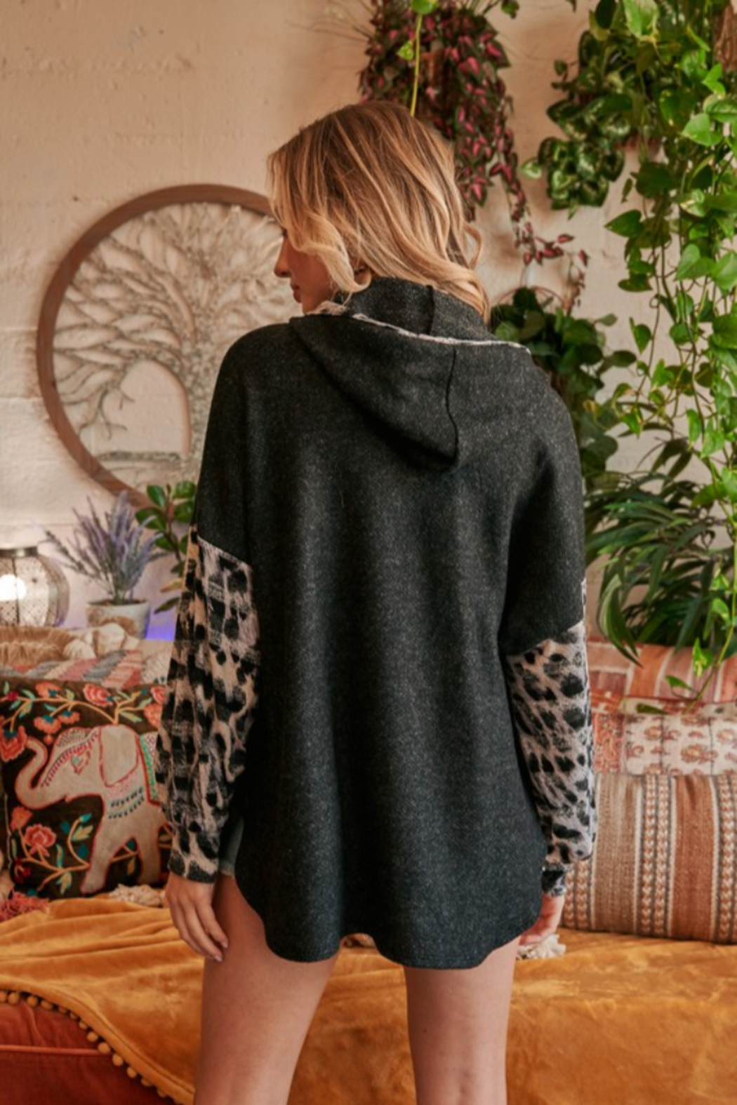 Hailey & Co Leopard Print Hoodie - Side Cropped Image