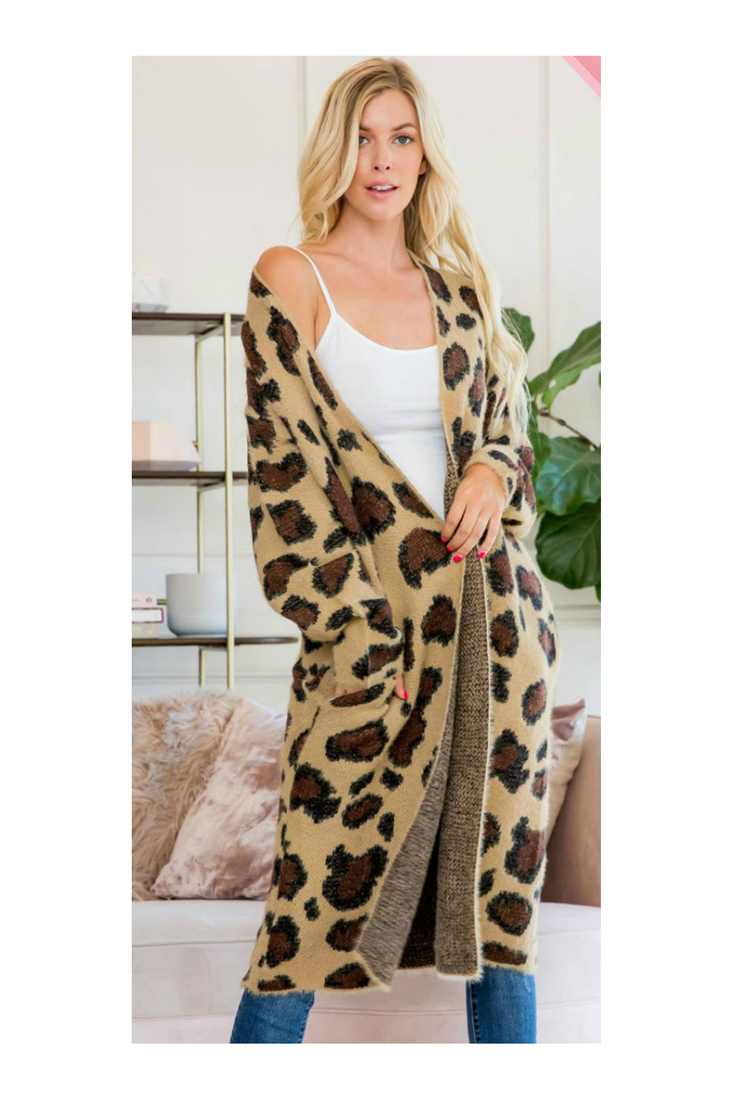 Sweet Lovely LEOPARD PRINT LONG SWEATER CARDIGAN - Front Full Image