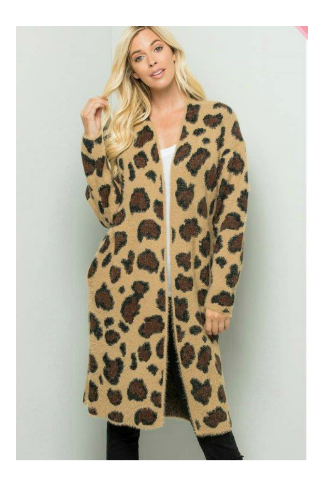 Sweet Lovely LEOPARD PRINT LONG SWEATER CARDIGAN - Front Cropped Image
