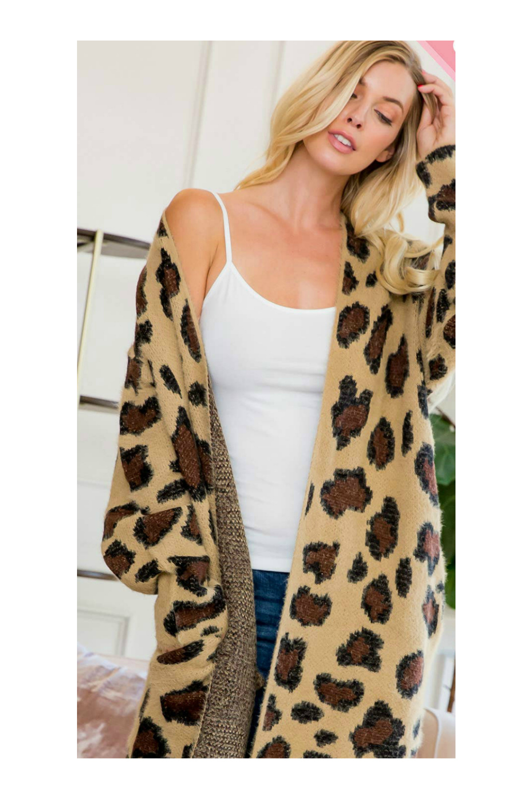 Sweet Lovely LEOPARD PRINT LONG SWEATER CARDIGAN - Side Cropped Image