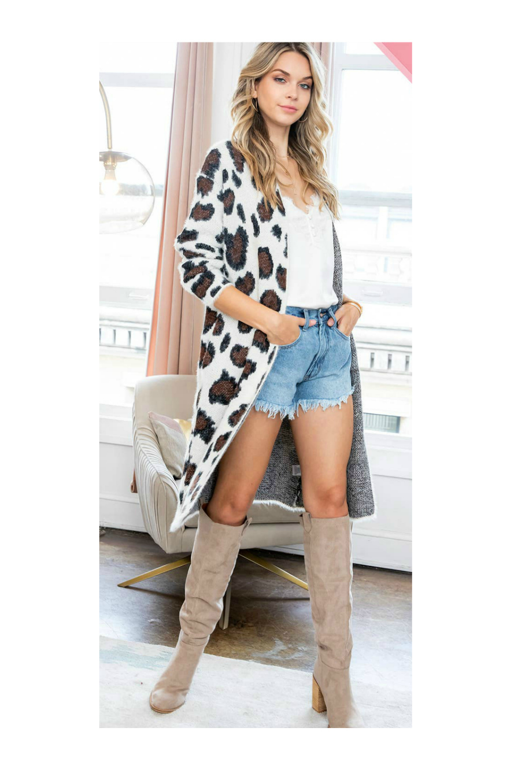 Sweet Lovely LEOPARD PRINT LONG SWEATER CARDIGAN - Back Cropped Image