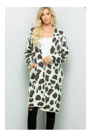 Sweet Lovely LEOPARD PRINT LONG SWEATER CARDIGAN - Front cropped