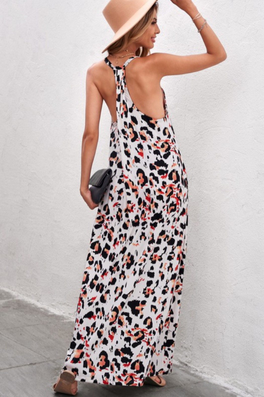 Shewin  Leopard Print Maxi Dress - Side Cropped Image