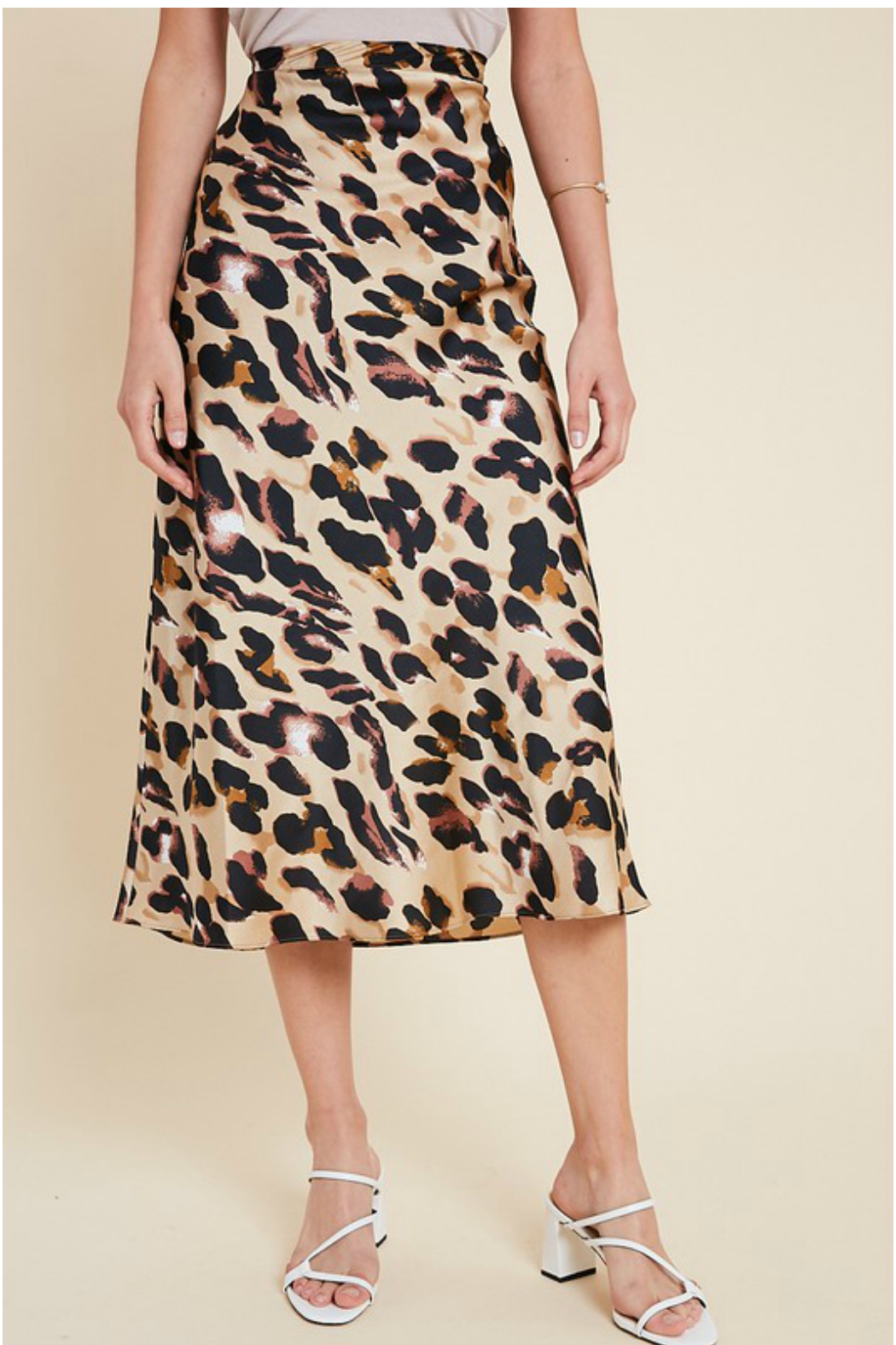 Wishlist LEOPARD PRINT MIDI SKIRT - Front Cropped Image