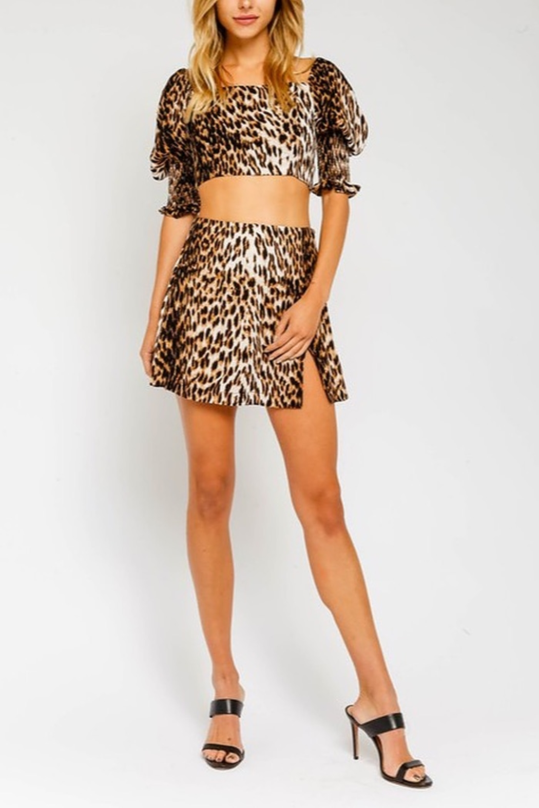 Olivaceous  Leopard Print Mini Skirt - Front Cropped Image