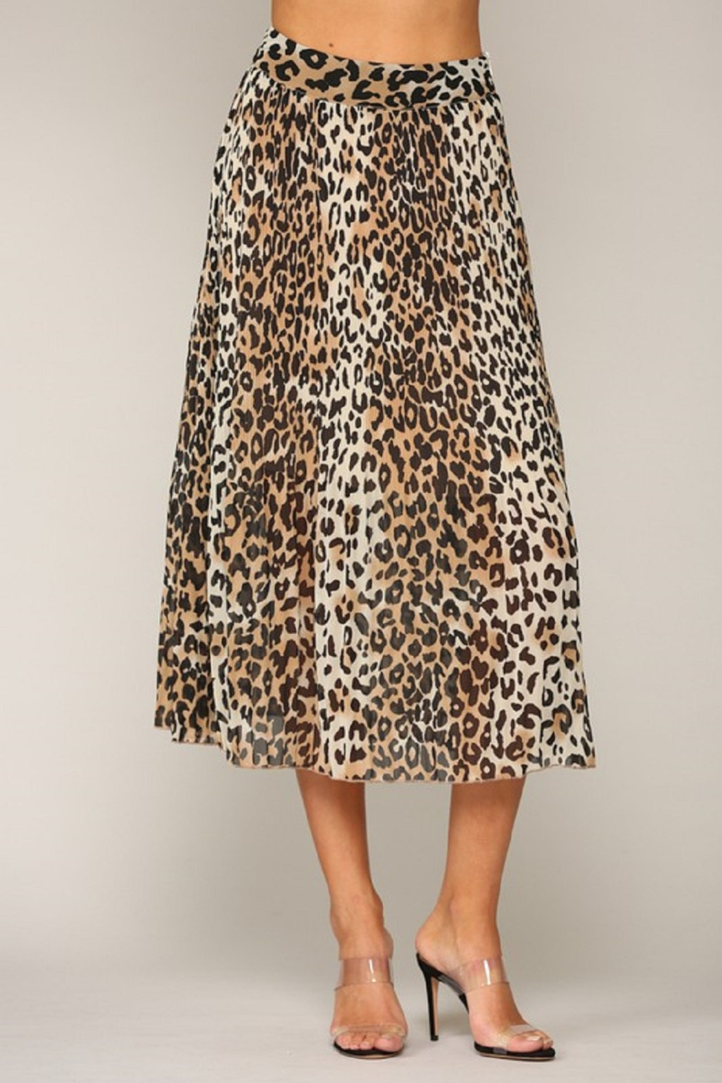 By Together  Leopard Print Pleated Midi Skirt - Front Full Image
